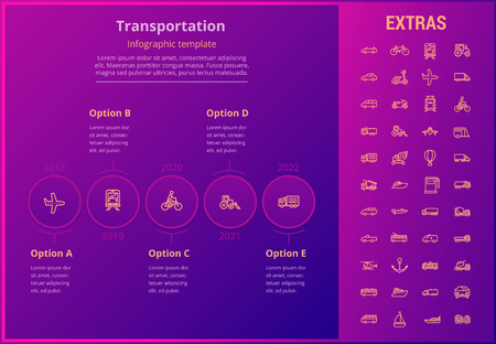 Transportation options infographic template, elements and icons. Infograph includes line icon set with transport vehicle, truck trailer, airplane flight, hot air balloon, construction vehicles etc. Illusztráció