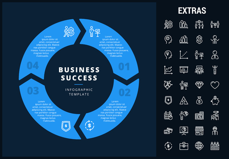 Business success infographic template, elements and icons. Infograph includes customizable circular diagram, line icon set with business worker, successful businessman, leader, market data etc.