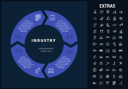 Industry infographic template, elements and icons. Infograph includes customizable circular diagram, line icon set with mining equipment, fuels, conveyor belt, nuclear power plant etc. Illustration