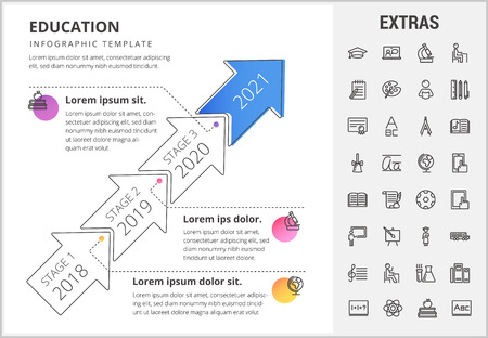 Education timeline infographic template, elements and icons. Infograph includes stages with years, line icon set with education certificate, university student, library book, college diploma etc. Illustration