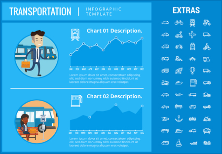 Transportation infographic template, elements and icons. Infograph includes customizable graphs, charts, line icon set with transport vehicle, truck trailer, airplane flight, car, bus, train etc.