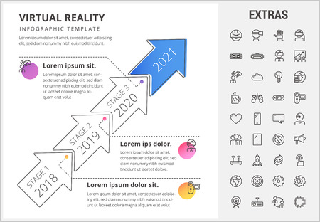 Virtual reality timeline infographic template, elements and icons. Infograph includes stages with years, line icon set with virtual reality glasses, vr technology, cloud computing, global network etc.