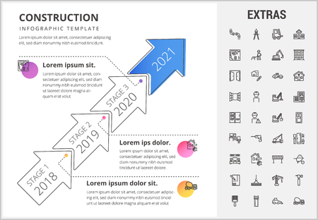 Construction timeline infographic template, elements and icons. Infograph includes stages with years, line icon set with construction worker, builder tools, repair person, house building, project etc