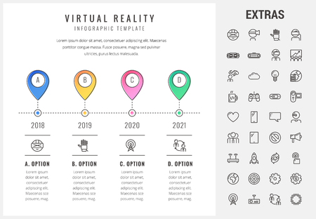 Virtual reality timeline infographic template, elements and icons