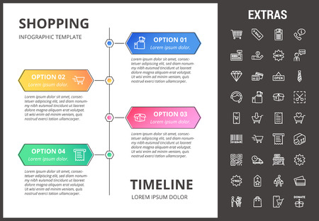 Shopping timeline infographic template, elements and icons Illustration