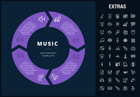 Music infographic template, elements and icons. Infograph includes customizable circular diagram, line icon set with musical instruments, music notes, microphone, smartphone with mobile app etc. Vectores