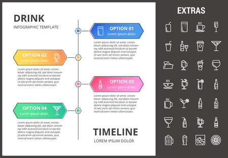 Drink timeline infographic template, elements and icons vector illustration Illustration