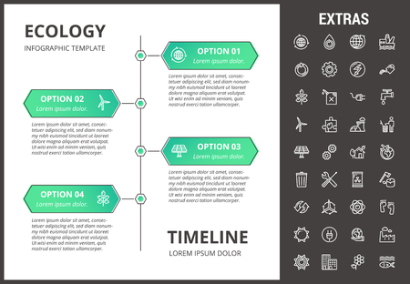 Ecology timeline infographic template, elements and icons vector illustration