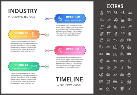 Industry timeline infographic template, elements and icons. Infograph includes options with years, line icon set with mining equipment, conveyor belt, nuclear power plant, manufacturing industry etc.