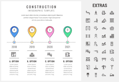 Construction timeline infographic template, elements and icons. Infograph includes options with years, line icon set with construction worker, builder tools, repair person, house building, project etc