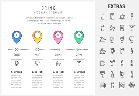 Drink timeline infographic template, elements and icons. Infograph includes options with years, line icon set with bar drinks, alcohol beverages, glasses and bottles, non-alcoholic beverages etc.