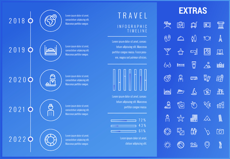 Travel timeline infographic template, elements and icons. Infograph includes options with years, line icon set with tourist attraction, luggage cart, travel planning, holiday vacation, traveler etc. Imagens - 90936531