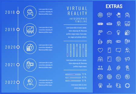Virtual reality timeline infographic template, elements and icons. Infograph includes options with years, line icon set with virtual reality glasses, vr technology, video game, cloud computing etc.