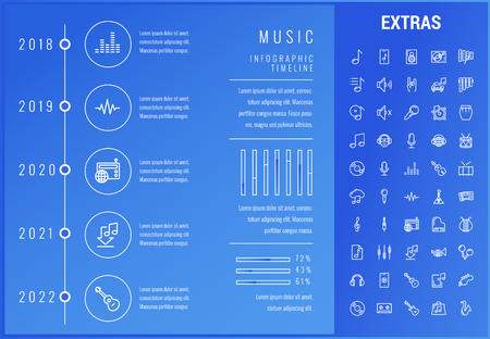 Music timeline infographic template, elements and icons. Infograph includes options with years, line icon set with musical instruments, music notes, mic, smartphone with mobile app, vinyl record etc.