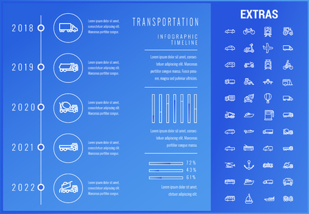 Transportation timeline infographic template, elements and icons. Infograph includes options with years, line icon set with transport vehicle, truck trailer, airplane flight, construction vehicles etc 版權商用圖片