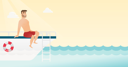 Young man tanning on the front of the yacht Vector cartoon illustration