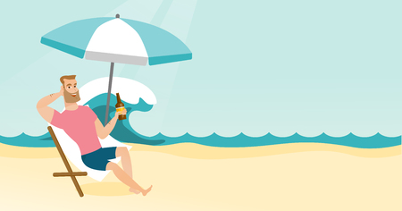 Young man sitting on a chaise-lounge on the beach Vector cartoon illustration