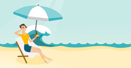 Young woman sitting on a chaise-lounge on the beach Vector cartoon illustration