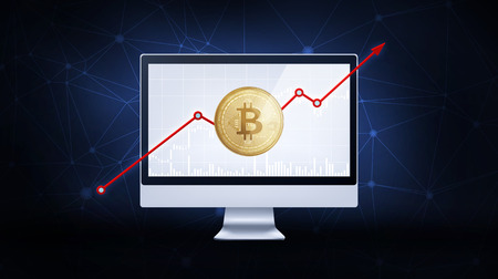 Golden bitcoin coin with bull trading stock chart and rising arrow on computer. Bitcoin Gold and Cash lightning blockchain concept. Cryptocurrency coin icon illustration on polygon peer to peer network background. Stock Photo