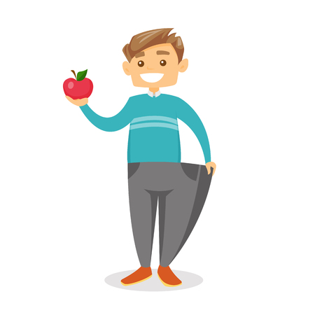 Young happy slim caucasian white man in oversized pants showing the results of his diet. Diet and healthy lifestyle concept. Vector cartoon illustration isolated on white background.