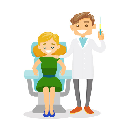 Young caucasian white doctor standing next to the female client in beauty salon and holding a syringe for beauty injection. Vector cartoon illustration isolated on white background. Square layout. Ilustrace