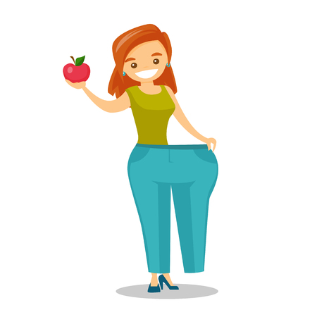 Young happy slim caucasian white woman in oversized pants showing the results of her diet. Diet and healthy lifestyle concept. Vector cartoon illustration isolated on white background. Square layout.