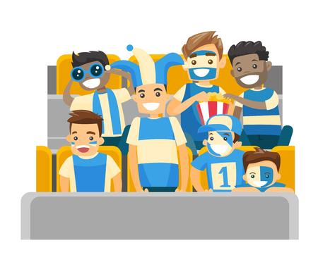 Multi ethnic sport supporters sitting at the stadium at a sporting event. Crowd of spectators watching game at the stadium. Vector cartoon illustration isolated on white background. Square layout.