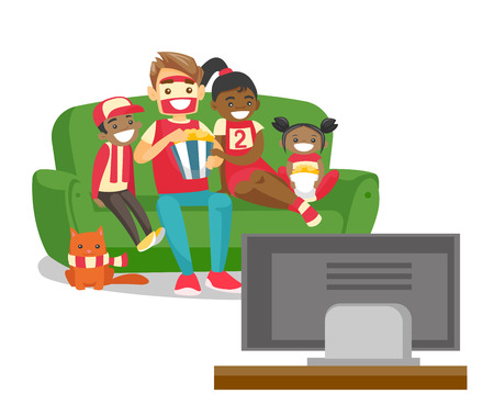 Young happy multicultural family sitting on sofa, eating popcorn and watching football game together on television at home. Vector cartoon illustration isolated on white background. Square layout.