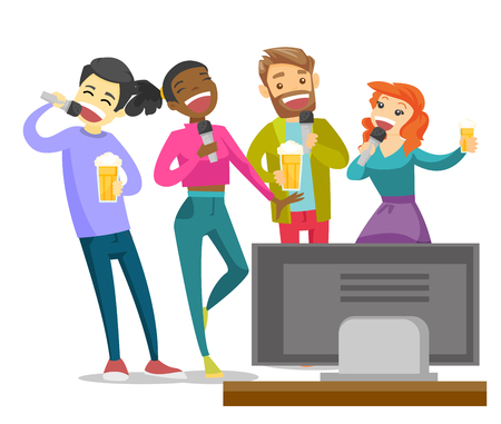 Young multiethnic friends drinking beer and singing karaoke together at home. Group of friends having fun at karaoke party. Vector cartoon illustration isolated on white background.