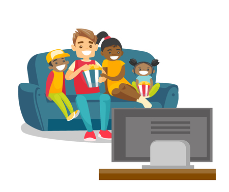 Happy multiracial parents with biracial kids sitting on the couch, eating popcorn and watching television together at home. Vector cartoon illustration isolated on white background.