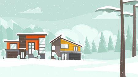 Winter landscape with snow covered residential houses and Christmas trees. Family houses at winter season in the suburb. Hand drawn vector cartoon illustration for Christmas design.