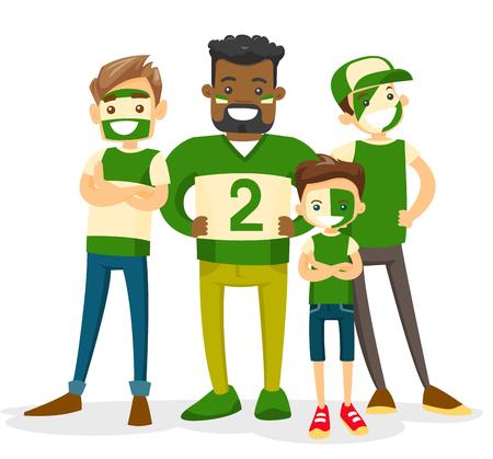 Grupo de aficionados desportivos multirraciais no equipamento verde que apoia sua equipe. Fãs de esporte adultos e jovens assistindo jogo juntos. Ilustração dos desenhos animados do vetor isolada no fundo branco. Layout quadrado.