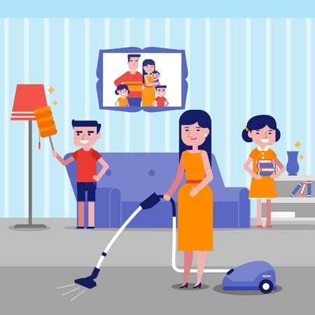 Caucasian white family having fun while cleaning living room with a vacuum cleaner and a brush for dust. Young mother with son and daughter cleaning house. Vector cartoon illustration. Square layout. Illustration