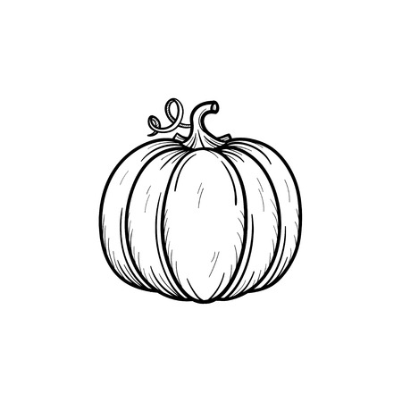 Vector hand drawn pumpkin outline doodle icon.