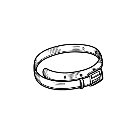 Vector hand drawn leather belt outline doodle icon. Leather belt sketch illustration for print, web, mobile and infographics isolated on white background. Çizim
