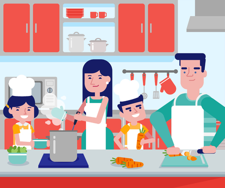 Young caucasian white parents with their son and daughter cooking together in kitchen at home. Couple with kids having fun while preparing vegetable meal. Vector cartoon illustration. Square layout. Vectores
