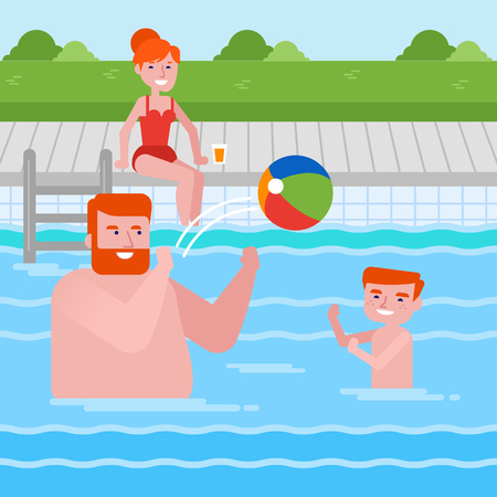 Young cheerful caucasian white father and son playing ball in swimming pool while mother sitting nearby. Happy family having fun in swimming pool. Vector cartoon illustration. Square layout.