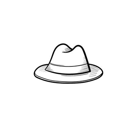 Vector hand drawn fedora hat outline doodle icon. Trilby sketch illustration for print, web, mobile and infographics isolated on white background.