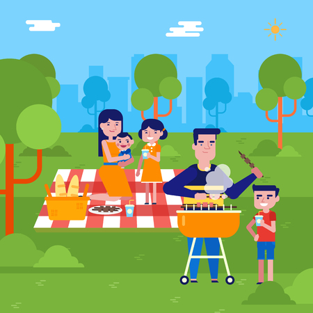 Young caucasian white man cooking shish kebab on barbecue grill for his family on a picnic in the park outdoors. Happy family having a picnic in the park. Vector cartoon illustration. Square layout.