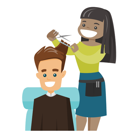 African hairdresser cutting the hair of a man in barber shop. Barber making a haircut to a caucasian white client with scissors. Vector cartoon illustration isolated on white background. Square layout