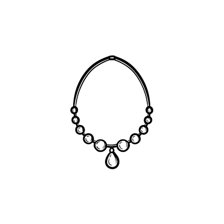 A Vector hand drawn necklace outline doodle icon. Accessory sketch illustration for print, web, mobile and infographics isolated on white background.