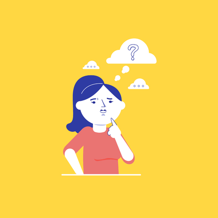 Young caucasian white woman holding a finger on her chin and thinking while standing under question mark. Thinking woman with question mark over her head. Vector cartoon illustration. Square layout.