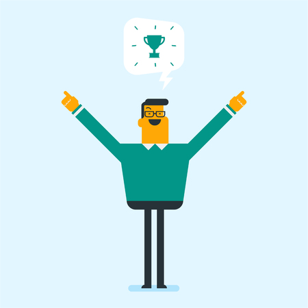 Excited caucasian white businessman dreaming about trophy cup. Cheerful businessman with outstretched arms standing under trophy goblet. Winner concept. Vector cartoon illustration. Square layout. Illustration