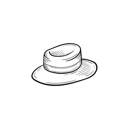 A Vector hand drawn women straw panama outline doodle icon. Hat sketch illustration for print, web, mobile and infographics isolated on white background. Stock fotó - 91375340