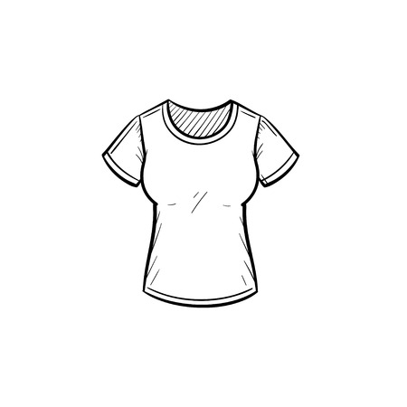Vector hand drawn tight t-shirt outline doodle icon. Illustration