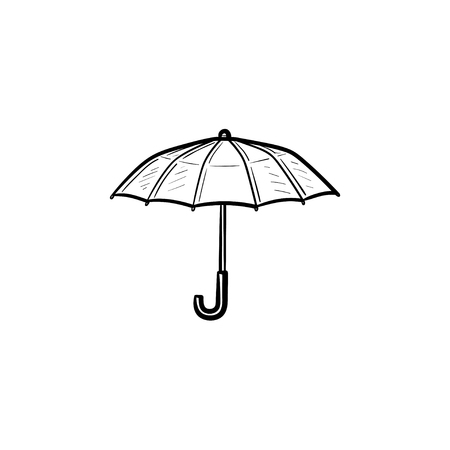 A Vector hand drawn umbrella outline doodle icon. Umbrella sketch illustration for print, web, mobile and infographics isolated on white background. Stock Vector - 91375482