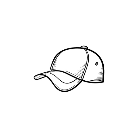 Vector hand drawn baseball hat outline doodle icon. Baseball cap sketch illustration for print, web, mobile and infographics isolated on white background. Vectores