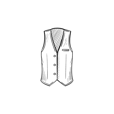 A Vector hand drawn waistcoat outline doodle icon. Waistcoat sketch illustration for print, web, mobile and infographics isolated on white background.