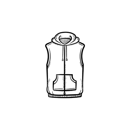 A Vector hand drawn vest jacket outline doodle icon. Sweater sketch illustration for print, web, mobile and infographics isolated on white background.