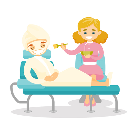 Caucasian white cosmetologist applying cosmetic mask on the face of client in beauty salon. Woman during cosmetology procedure. Vector cartoon illustration isolated on white background. Square layout.  イラスト・ベクター素材